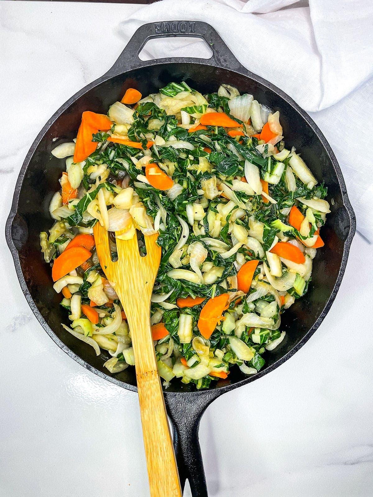 Overlay of Jamaican chop suey recipe