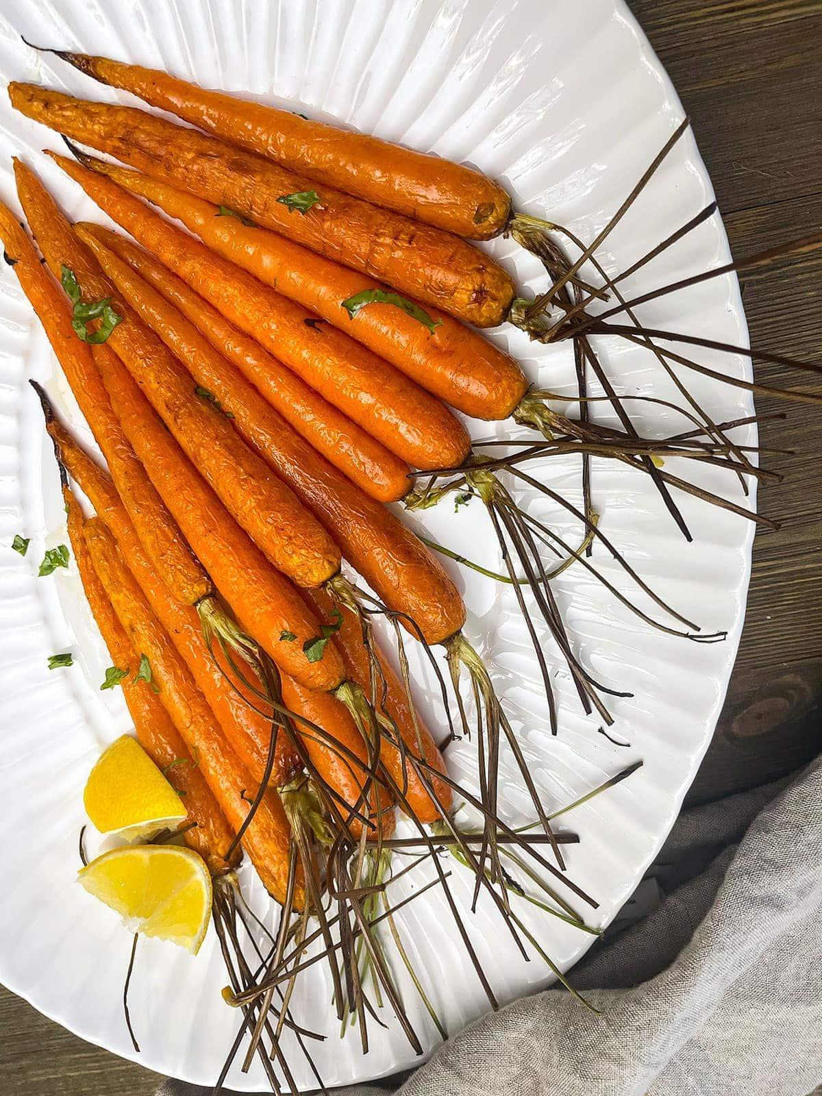 air fryer carrots on a white platter
