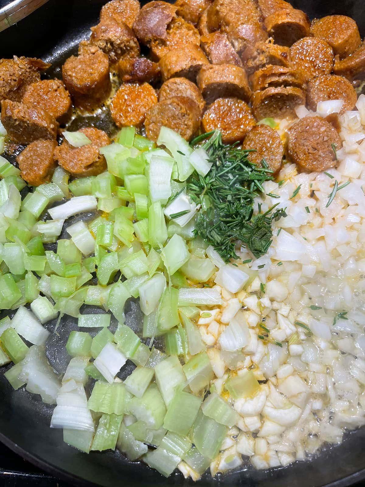 saute veggies in skillet