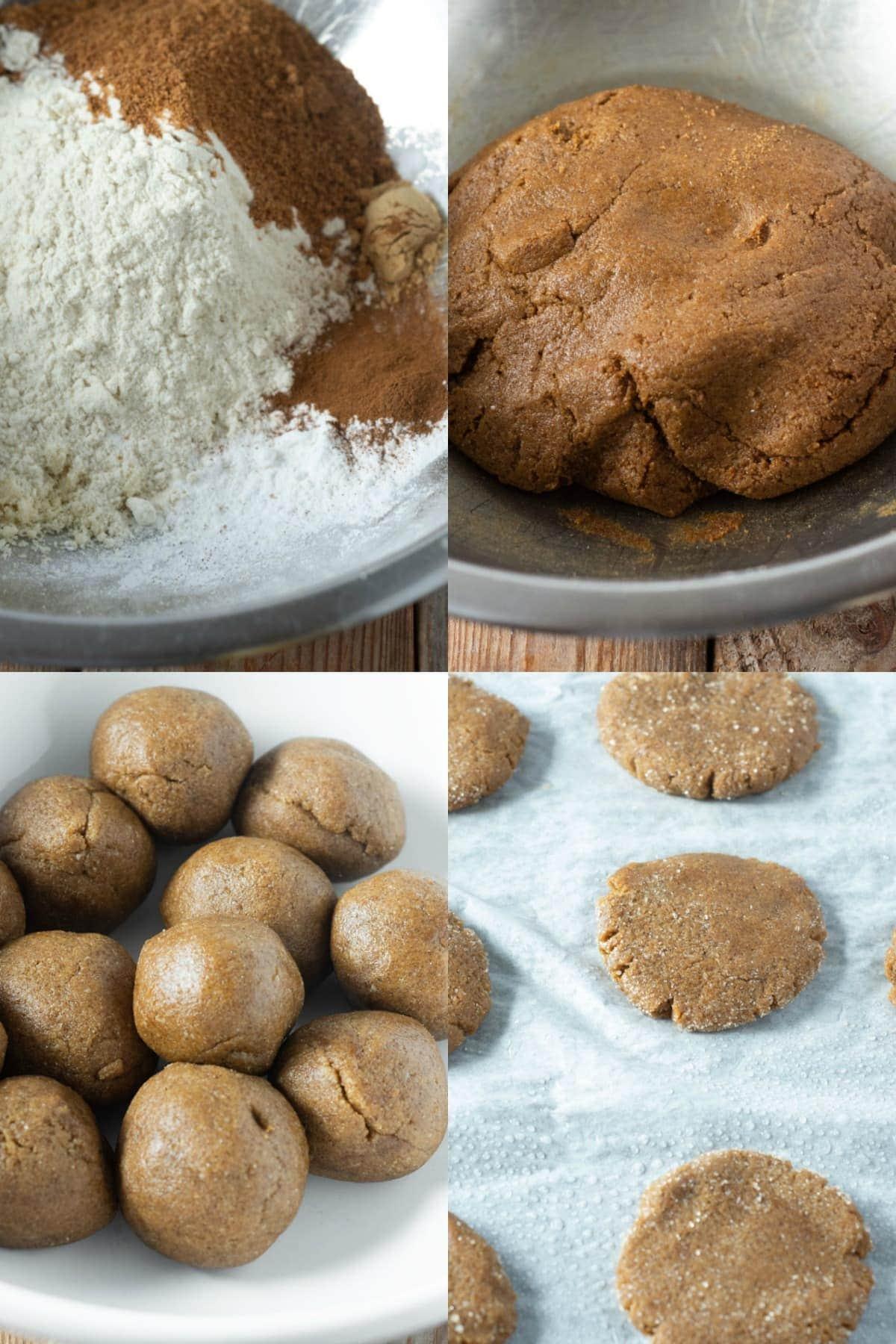 Vegan molasses cookies process shots of the steps