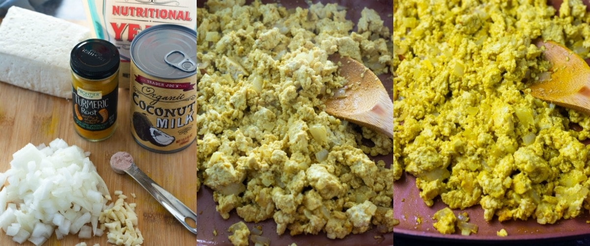 Tofu scramble step by step images include, ingredients and cooking in skillet