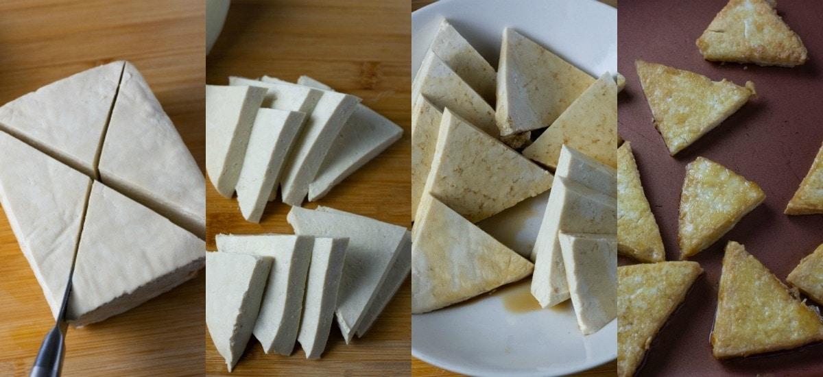 Tofu preparation for vegan ramen recipe