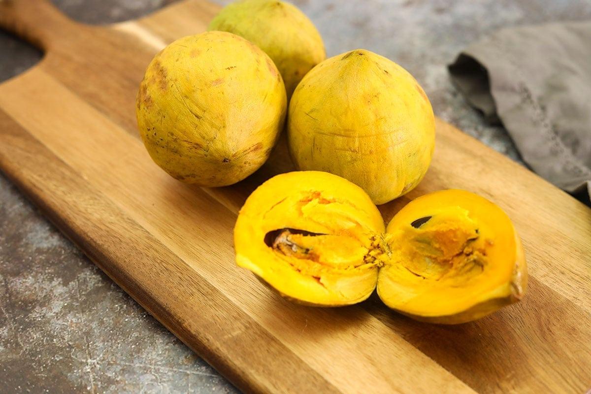 egg fruits on cutting board