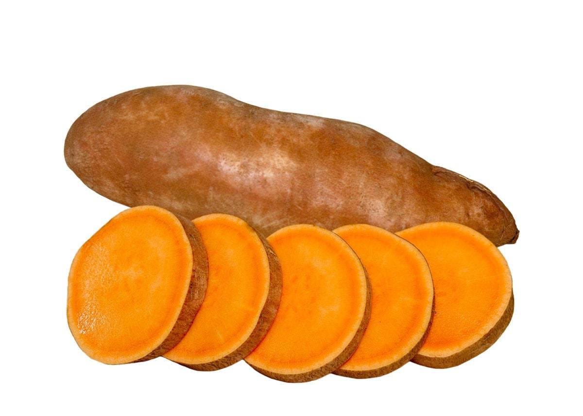 Slice sweet potato isolated on a white background