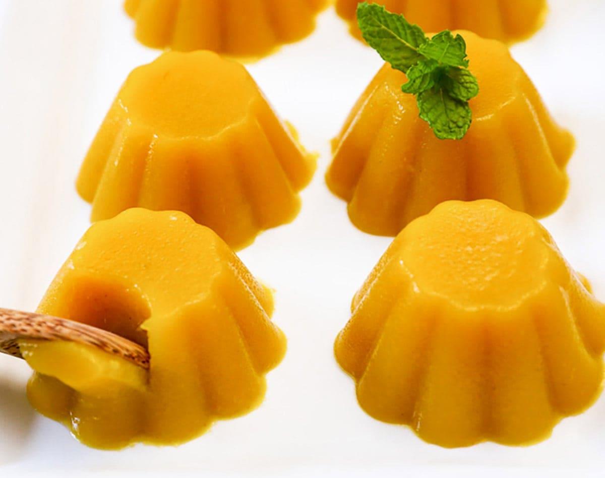 mango pudding on white platter