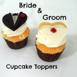 Side-by-side Bride and Groom Cupcakes