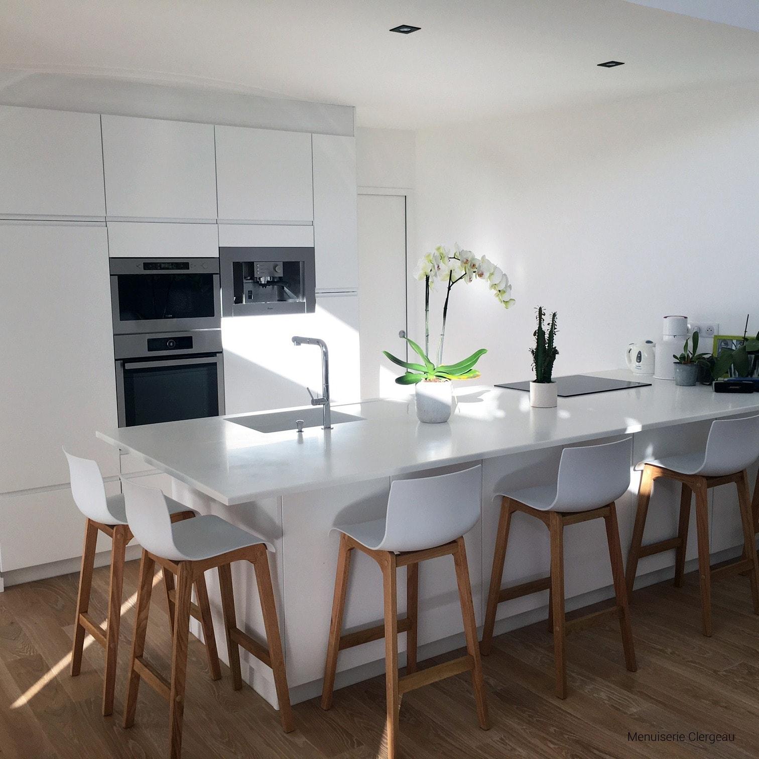 plan ilot de cuisine – Corian Glacier White – Menuiserie Clergeau – BF PRO