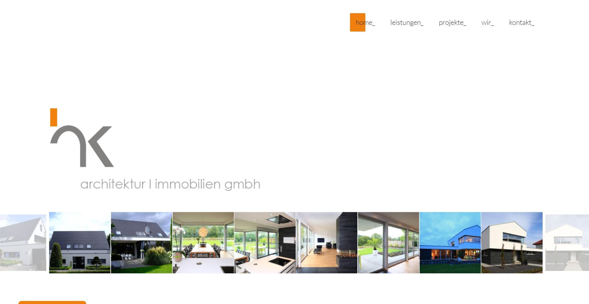 "WordPress Webdesign Referenz ""hk architektur | hk immobilien gmbh"""