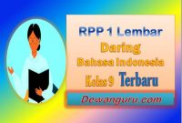 rpp 1 lembar daring bahasa indonesia kelas 9