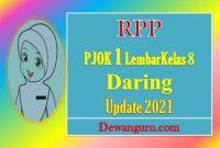 rpp pjok 1 lembar kelas 8 daring update 2021
