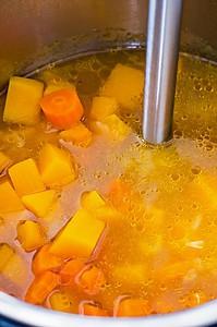 Immersion blender in instant pot squash soup