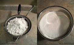 Sifting powdered sugar