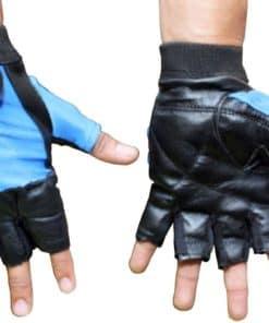 Gym Gloves Plata S/M/L/Xl Black/Blue Stretch Leather