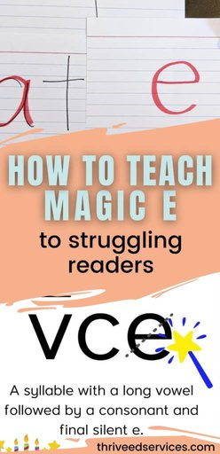 how to teach magic e to struggling readers pin image with examples