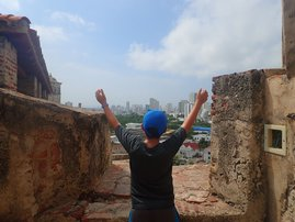 Marco looking out onto Cartagena from Castillo San Felipe fort