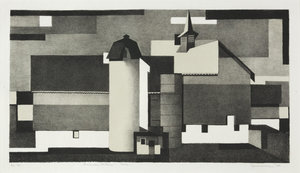 """Benton Spruance: American Pattern - Barn; Signed, titled and annotated """"Ed 45"""" in pencil."""