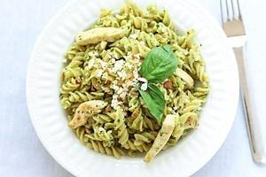 Pesto Chicken Pasta in Bowl