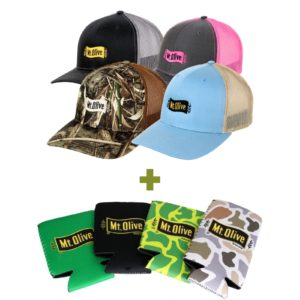 4 Mt. Olive Hats and 4 Koozies in various colors