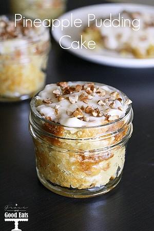 Jar of pineapple pudding cake