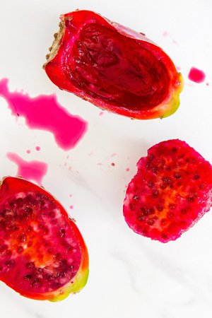 Scooped prickly pear flesh and peel
