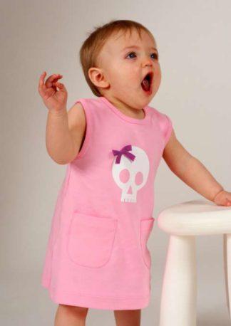 Baby girls dress with skull print & bow, pink alternative baby dress