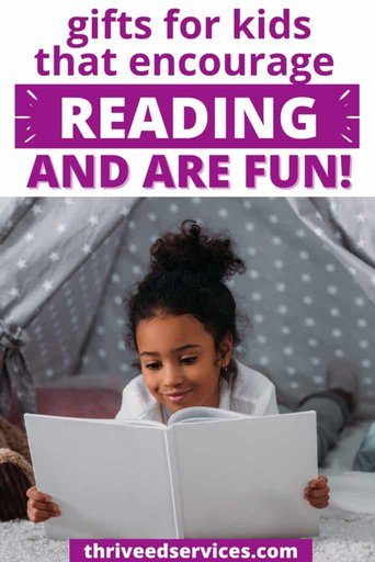 gifts that encourage reading and are fun pinterest image