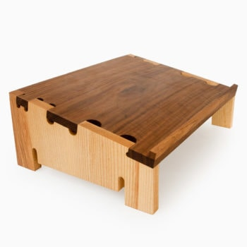 Laptop stand with Ash Sides Walnut Top, Solid wood with contrasting colors
