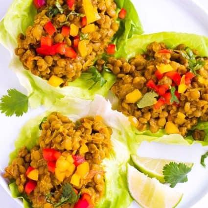 Lentil Curry Lettuce Cups
