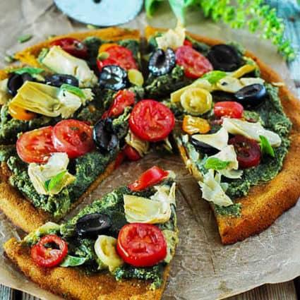 Mediterranean Pumpkin Pizza (Gluten-Free, Vegan)