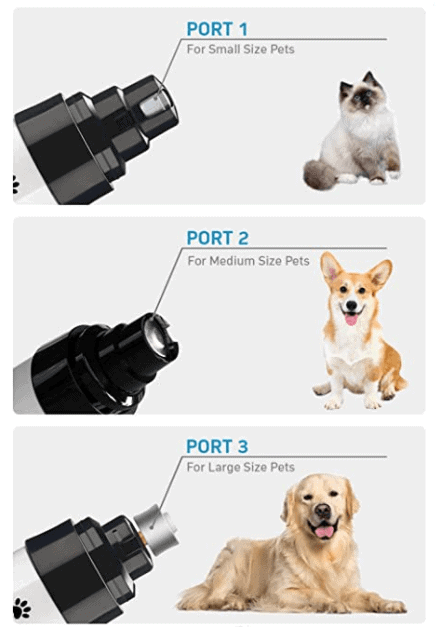 Pet Nail Grinder diferent port sizes