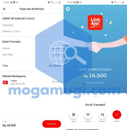 Top Up GoPay Via LinkAja Berhasil