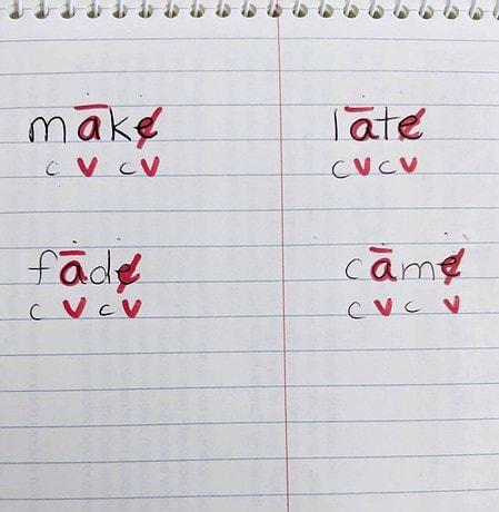 how to teach magic e, marking vowel-consonant-e words
