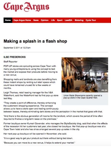 Making a splash in a flash shop  Cape Argus