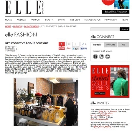 StyleSociety Pop up Boutique   Elle SA