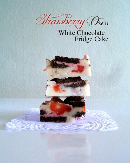 Oreo Strawberry Fridge Cake Stack