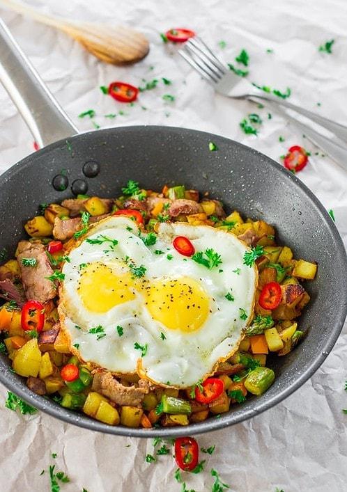 Steak Asparagus Potato Hash