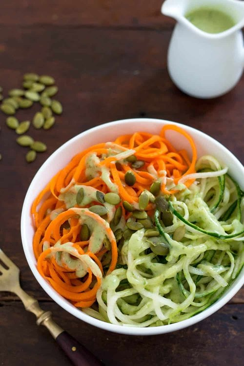 Spiralized Cucumber and Carrot Noodles