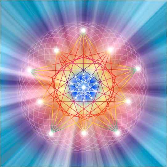blue purple yellow glow with sacred geometry