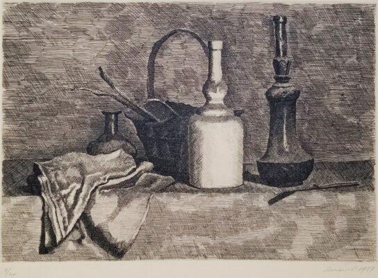 Giorgio Morandi, still life etching