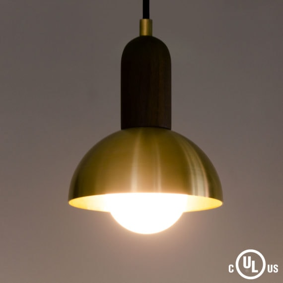 walnut and brass dome pendant light