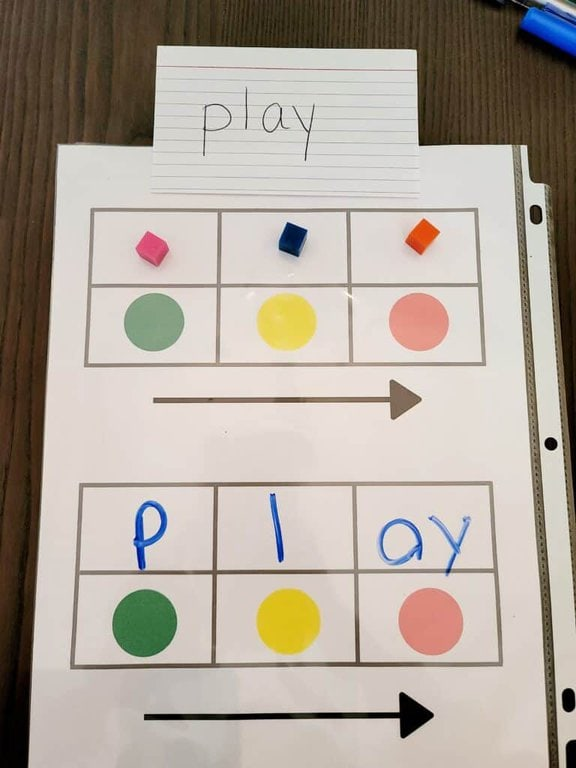 long a activity using sound boxes and phoneme grapheme mapping