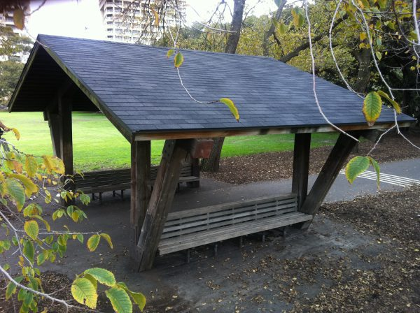 Gazebo at Fawkner Park Melbourne. Donated by the USA now with an American asphalt shingle roof.