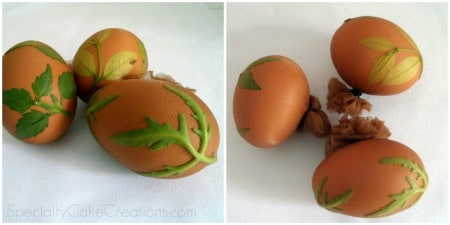 Eggs Printed with Leaves