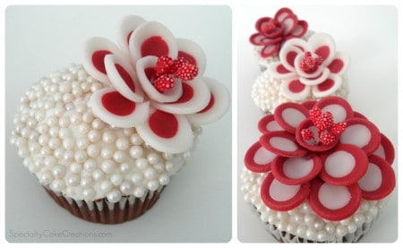 Red and White Flower Toppers