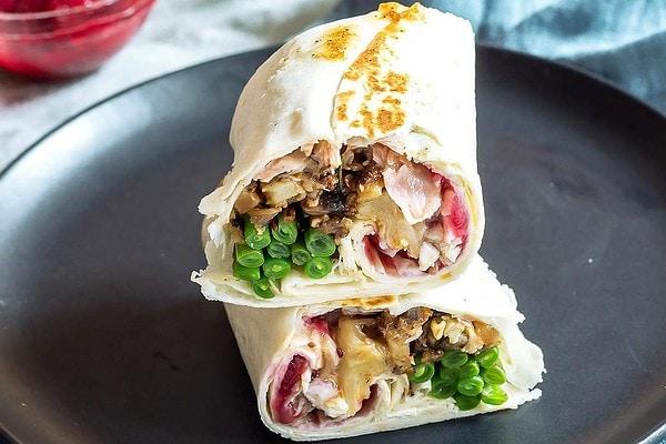 Leftover turkey dinner burrito