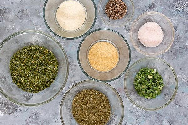 Ranch Seasoning Ingredients in individual bowls