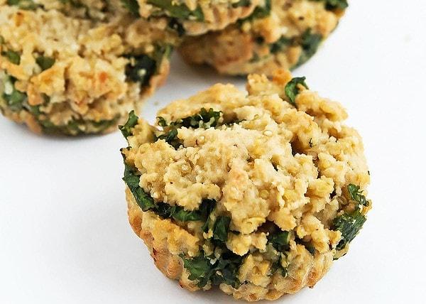 Close up of kale quinoa muffins