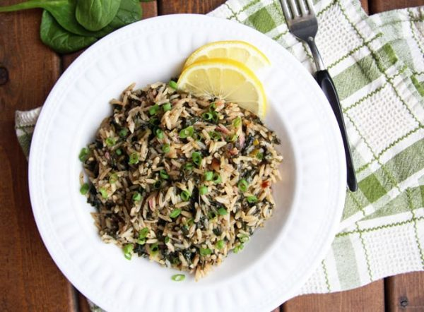Spinach Greek Rice with Lemon