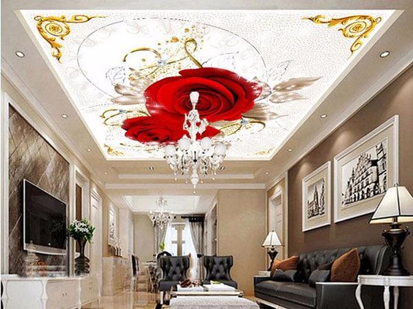натяжной потолок с розами в стиле барокко