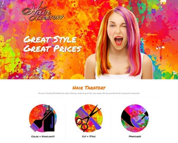 Screenshot of Hair Taratory website
